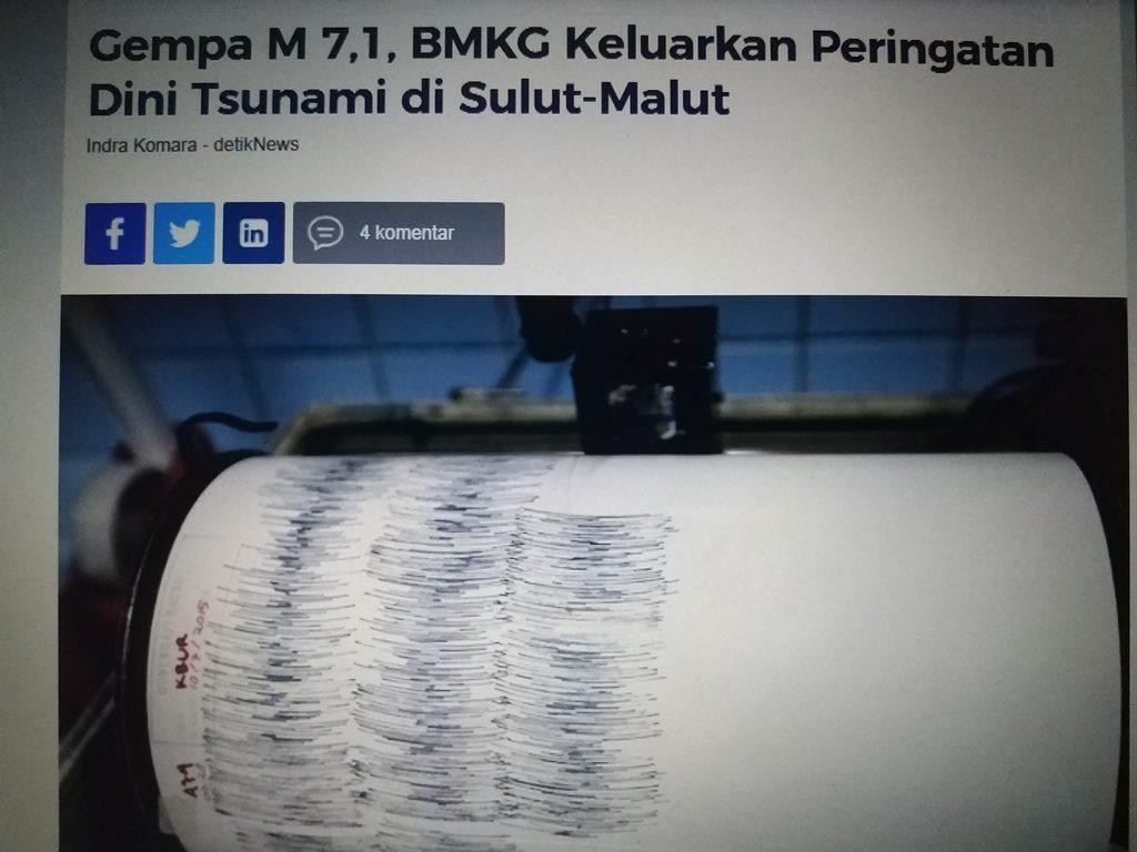 Warga Diminta Tetap Tenang, BMKG Kabarkan Gempa Di Sulut-Malut 7,1m